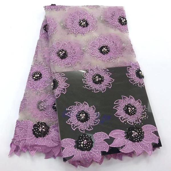 Фиолетовый Африканский кружевной ткани 2018 высокое качество французский тюль кружевные ткани с камнями нигерийский гипюр кружевной ткани 5 ярдов PR014