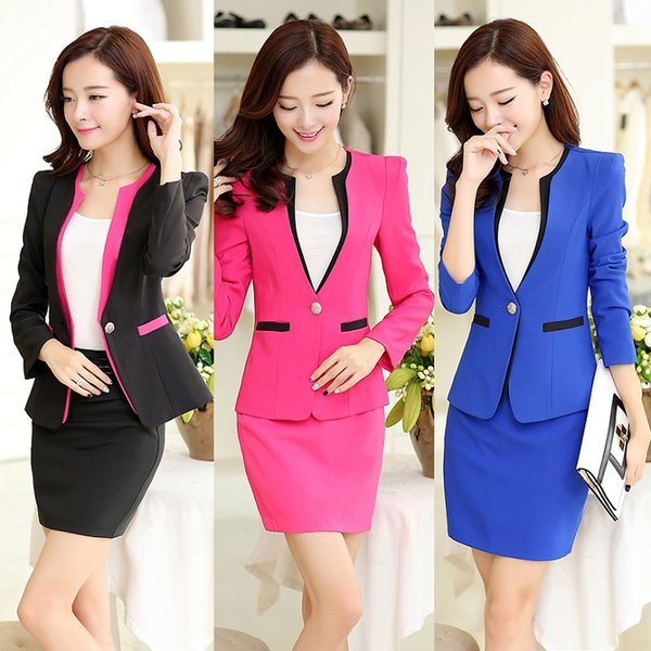 New Style 2017 Autumn Winter Fashion Female Skirt Suits for Women Business Suits Blazer Elegant Work Wear Sets Coat and Skirt