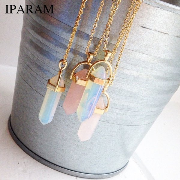 IPARAM Fashion Trend Crystals Necklace Bohemian Hexagon Opal Pendant Necklace Female Hexagon Crystal Gift 2018 NEW
