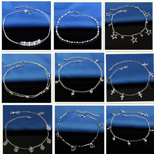 Anklets Boho Style Anklets Multi Layer Chain Simulated Pearl Beads Charm Anklets Foot Chain for Women Lots Wholesale