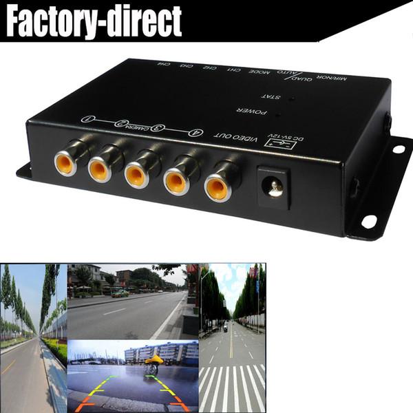 4-way araba Kompozit RCA Video Splitter Dağıtım destek araba arka ön yan dikiz kameraları dört kamera kontrol kutusu anahtarı