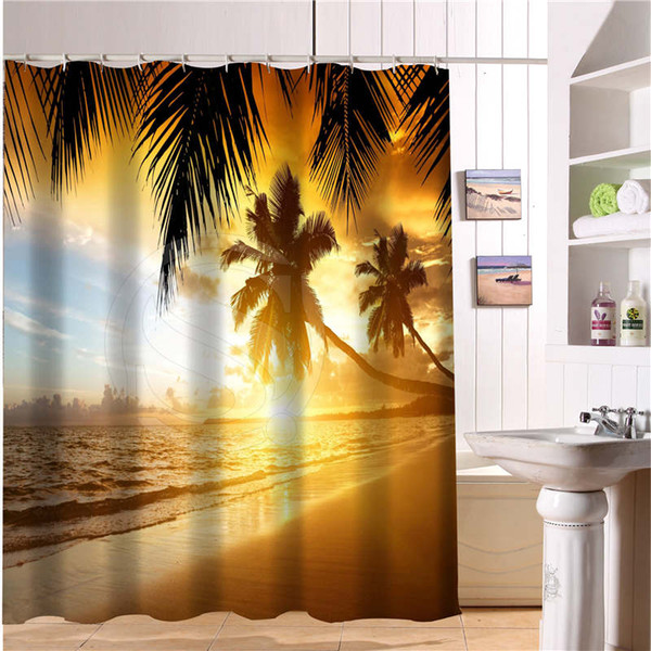 Custom Bath Curtain Beach Summer Ocean Sky Sea Nature Fabric Modern Shower Curtain Bathroom Beautiful Curtains Bath Decor