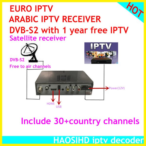 HAOSIHD dvb-s2 iptv m3u 1 year Arabic iptv media player support 30 country 2900 plus live tv satellite receiver with IPTV free shipping