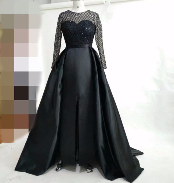 Black Long Sleeve Evening Dresses with detachable skirt sheer neck satin front split sexy arabic dresses 2018 real picture evening gowns