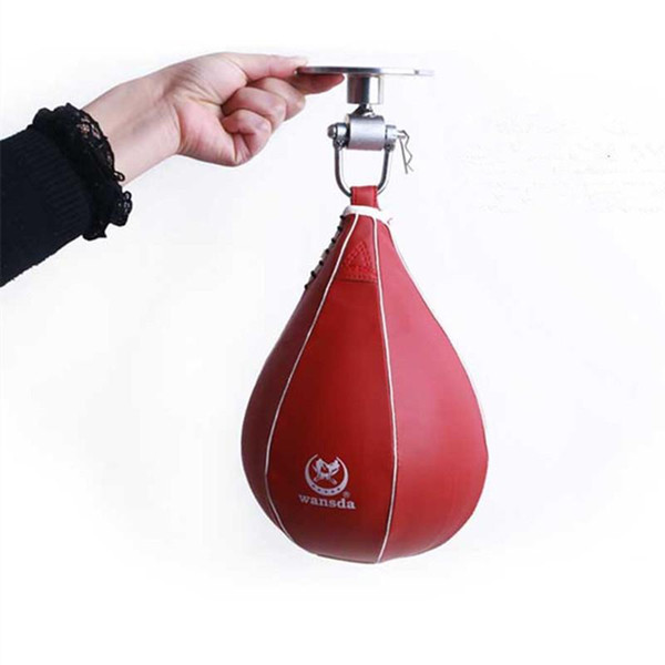 Boxing pear speed ball bag Sport Speed Bag Punch Exercise Fitness Training Ball without hanging (Black/Red)