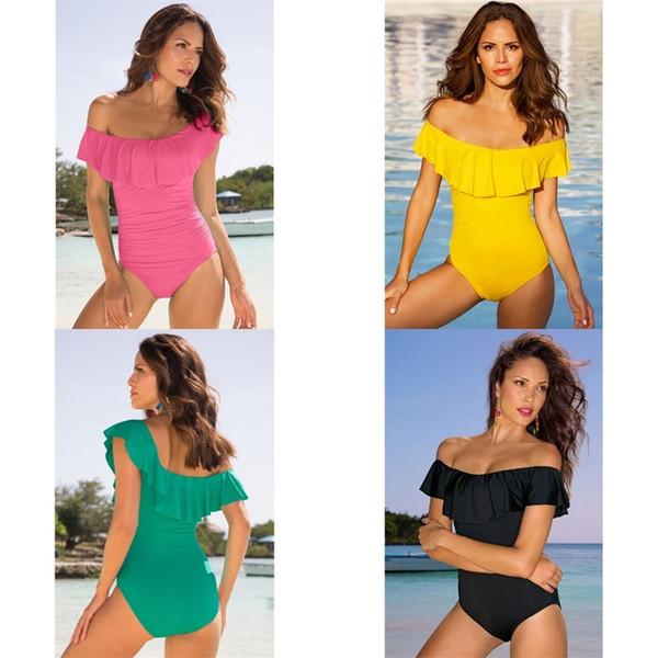 Kadın Mayo Mayo Lady Bikini Femme Fırfır Yaz Banyo One Piece Beachwear Monokini Push Up Yastıklı Tulumlar 21jl V Suits