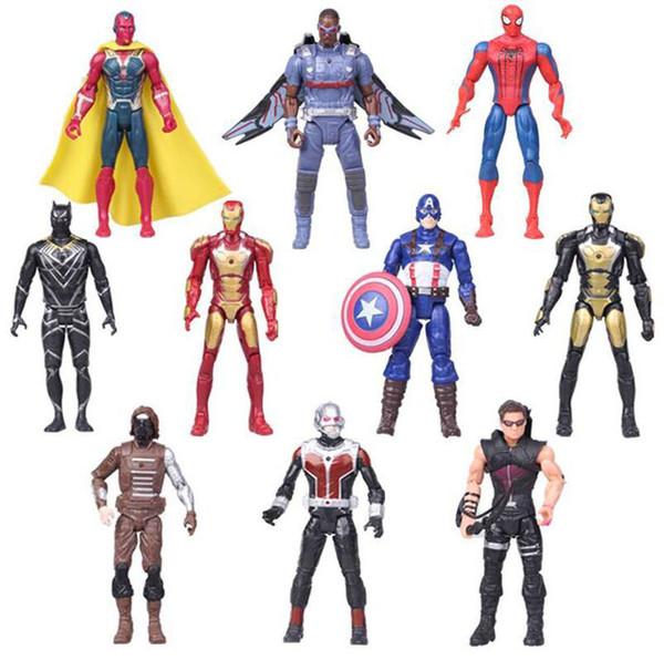 10pcs / set guerra di azione del PVC Captain America Civile figure giocattoli Vendicatori Iron Man Ant-Man Falcon Modello C4534 Dolls