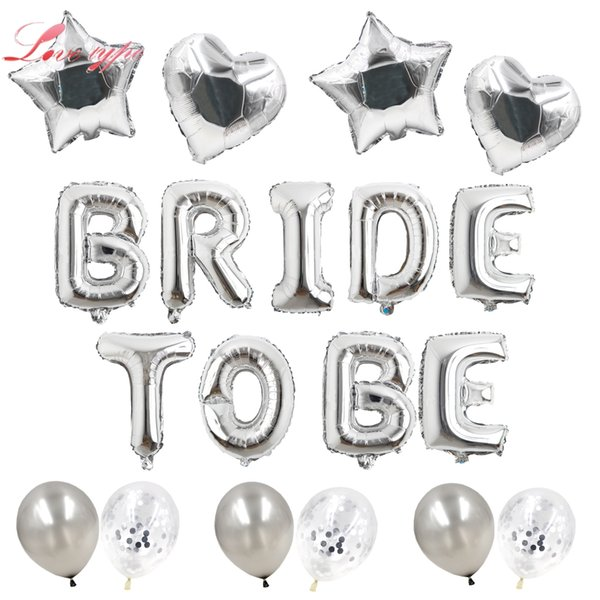 heap Ballons & Accessories Gold/Rose Gold/Silver Bride Letter Heart/Star Foil Confetti Balloons For Bachelorette Hen Party/Wedding Pa...