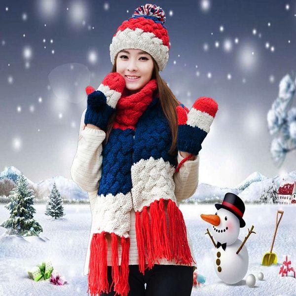 Hat scarf gloves three pieces set one piece muffler scarf girls female winter knitted hat christmas birthday gift thickening