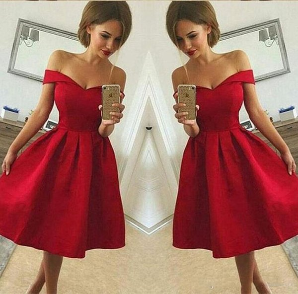 2018 Red Homecoming Dresses A Line Off The Shoulder Satin Prom Gowns Zip Back Knee Length Graduation Dress