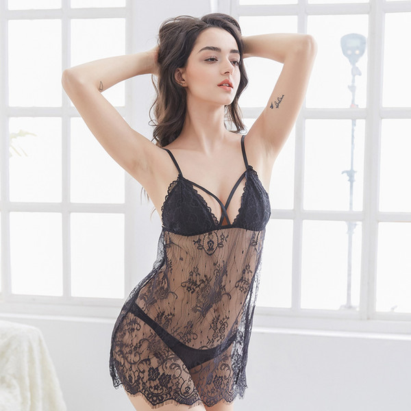 df1cfea6e11a Alluring Braces Skirt Women Sexy Lace Sexy Lingerie with G-string Sleepwear  Black red purple