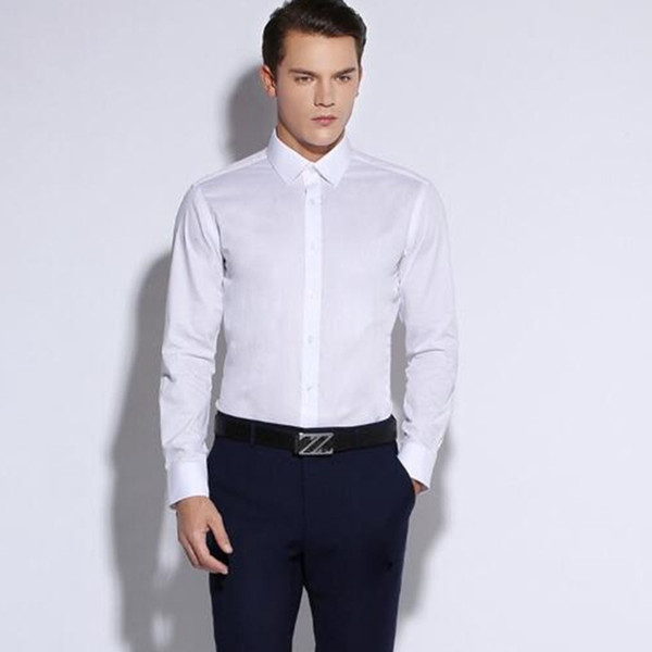 New Men's Slim Fit Solid Color White Long Sleeve Dress Shirt Square Collar No-Pocket Designed Business Casual Men Shirts