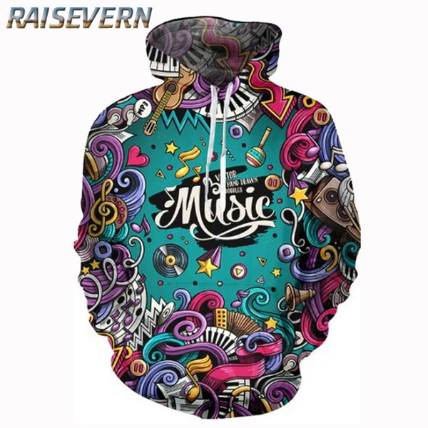 RAISEVERN Musical Note Piano Keys Print 3d Hoodies Women/Men Music Graffiti Women Sweatshirts Long-sleeved Pullovers Hoodies