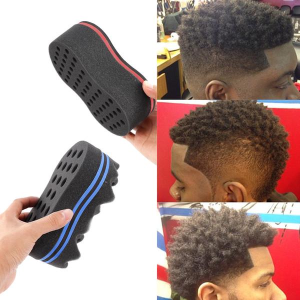 Magic Double Head Sponge Men Barber Hair Brush Black Dreads Locking Afro Twist Curl Coil Brush Hair Styling Tools GGA120 50PCS