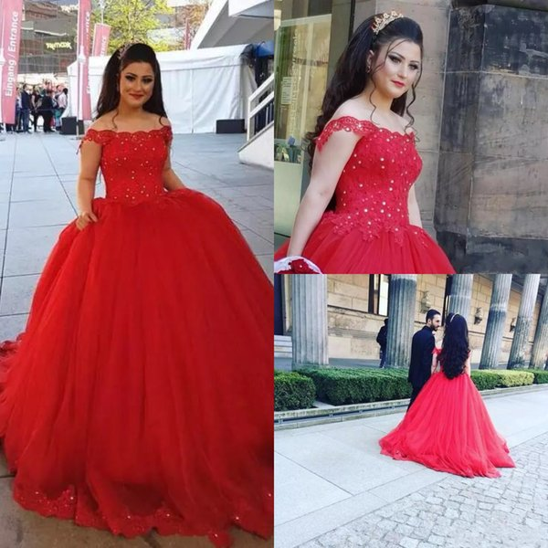 Vintage China Off The Shoulder Princess Wedding Dresses Red Applique Lace Beaded Puffy Ball Gown Bridal Gown Plus Size For Country Garden