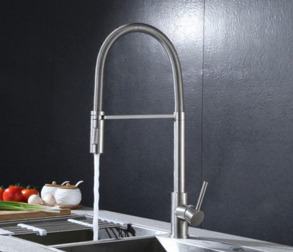 lead free SUS 304 Stainless Steel Pull Out Spring brushed Kitchen Faucet,Deck Mounted Spray Kitchen Mixer Tap 667