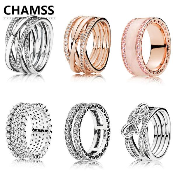 CHAMSS nuevo 100% de plata 925 Original 1:1 doble corazones de anillo entrelazados anillo rosa y plata claro CZ desmujeres regalo de la joye