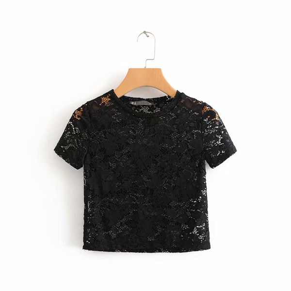 Hollow Out Breathable Lace T Shirt For Women Girls Flower Pattern Crochet Crop Tops Summer Style Black White Short Sleeve Tees