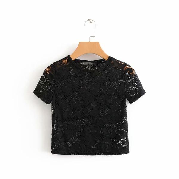 Maglietta traspirante in pizzo traspirante per ragazze da donna Motivo floreale Crochet Crop Top in stile estivo nero bianco manica corta Tees