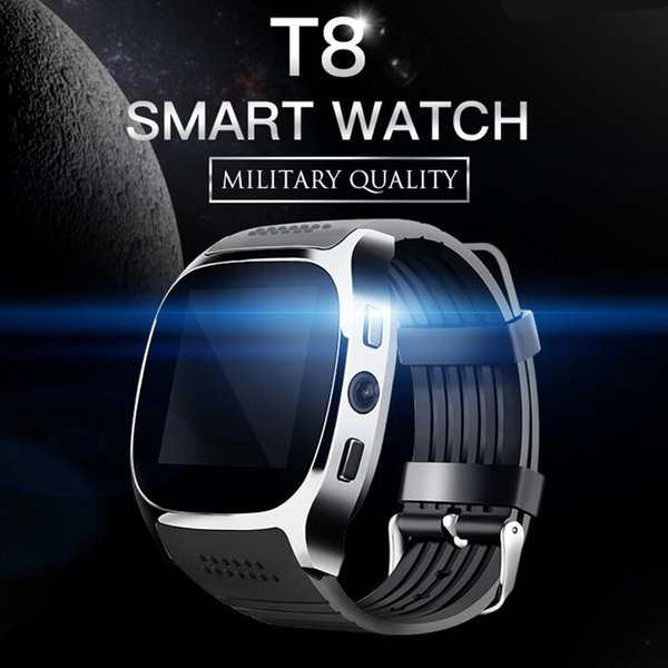 T8 Smart Watch Support Facebook Whatsapp SIM TF Card Call With Camera Smartwatch For Android Phone freeshipping