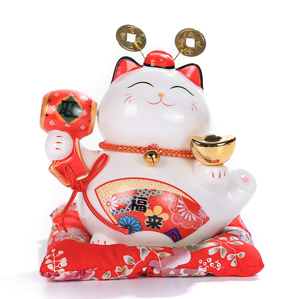 6 pollice Maneki Neko Ceramica Gatto Fortunato Decorazioni Per La Casa Ornamenti di Porcellana Carino Fortune Cat Money Box Fengshui Artigianato spedizione gratuita