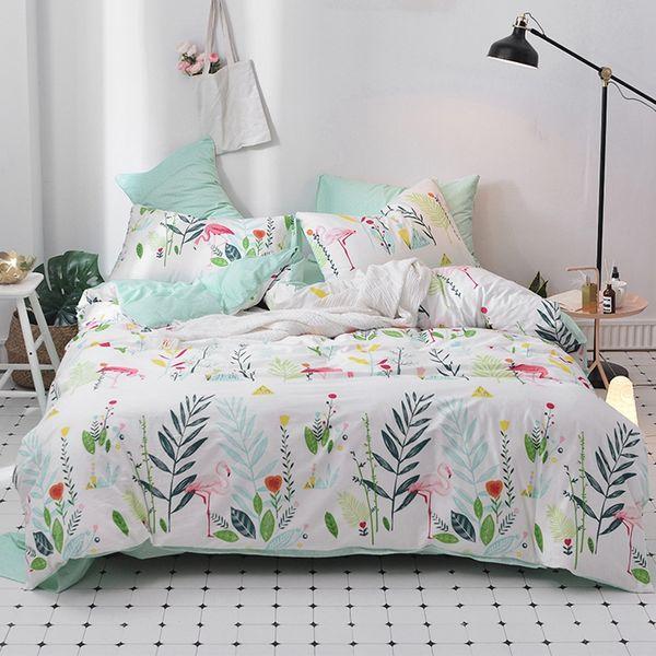 Summer And Spring Flamingo Duvet Cover Set 100% Cotton Plants Bedding Sets  Green Bed Sheet