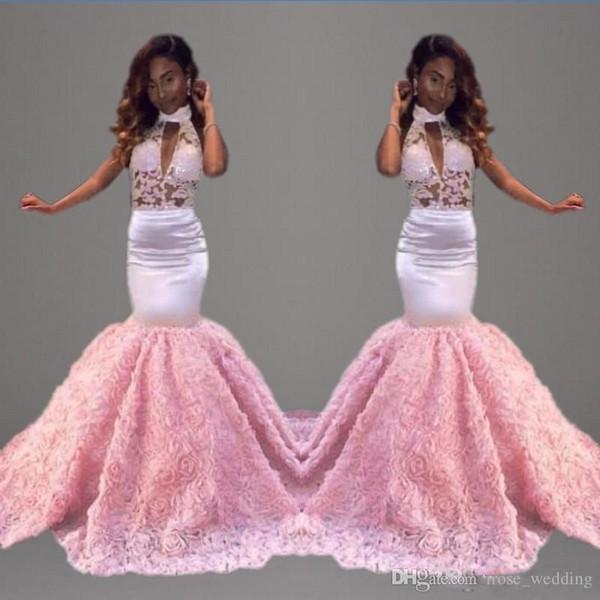 2017 Elegant Trumpet Prom Dress High Neck Keyhole Illusion Lace Top Sleeveless Floor Length Pink Mermaid Formal Evening Gowns Custom