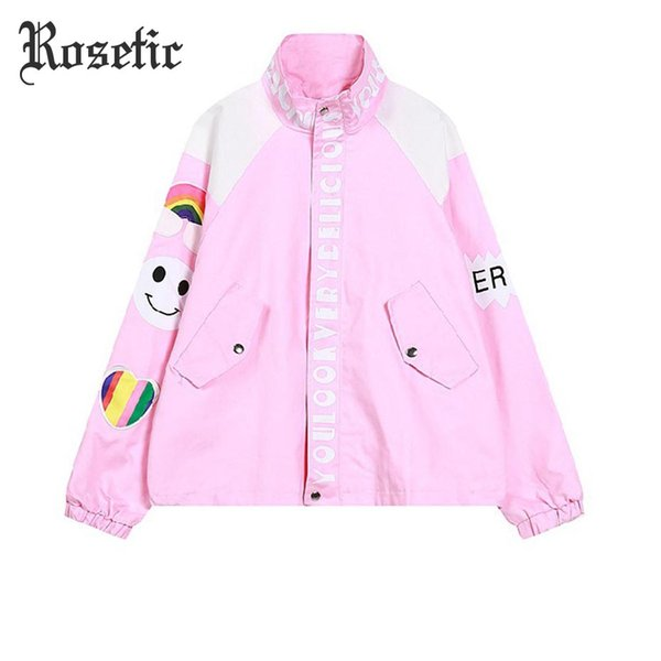 Rosetic Pastel Goth Casual Jacket Cartoon Letter Print Pink Girl Loose Sweet Harajuku Rainbow Fitness Out Cool Baseball Coat