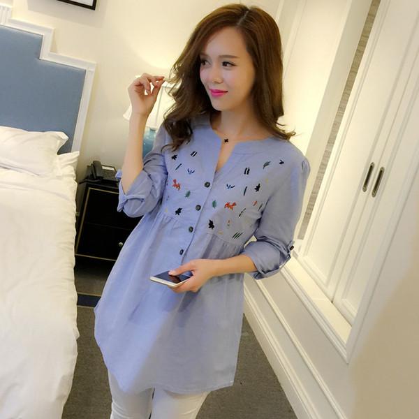 Moda cintura bordado plisado de algodón camisas de maternidad blusa Tops ropa para mujeres embarazadas ropa de embarazo