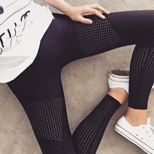 2018 New Black Quick-drying Mesh Leggings Fitness Black Leggins High Waist Slim Fitness Leggings Women Workout Sporting Legging