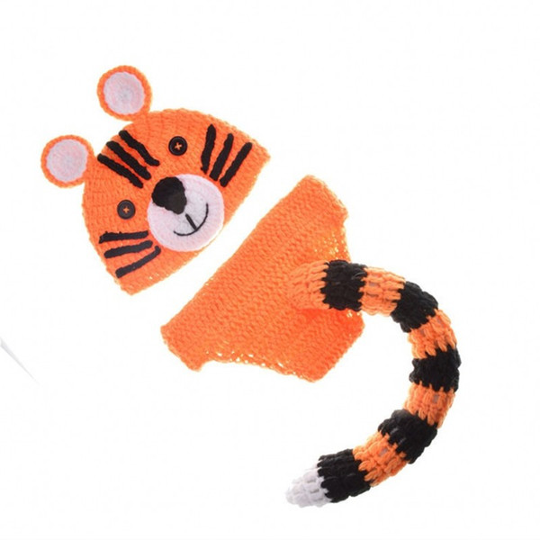 Newborn Baby Hats Tiger Photography Props Design Cap Elasticity Costume Crochet Cute Kids Clothing Two Pcs Suit 17dh WW