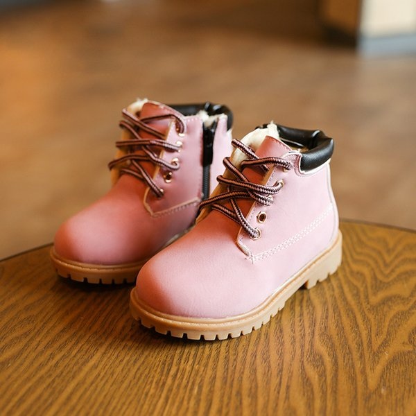 New Baby Boots Cute Pink Baby Girls Martin Boots for 1-6 Years Old Children Shoes Fashion Kids Work Boots Hot