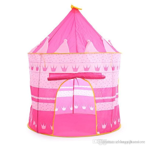 3 Colors Kids Toy Tents Children Folding Play House Portable Outdoor Indoor Toy Tent Princess Prince Castle Cubby Playhut Gifts