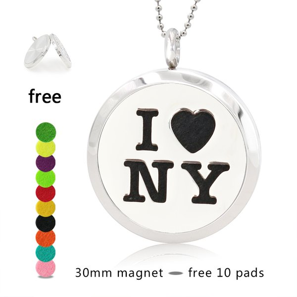 Hand Stamped I Love NY New York Necklace 25/30mm Magnetic 316 Stainless Steel Essential Oil Diffuser Lockets Pendant Necklace Free 10 Pads