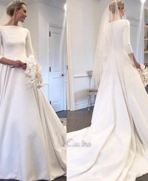 2018 nova linha vestidos de casamento com mangas compridas varrer trem coberto botões de volta custom made vestidos de noiva de jardim