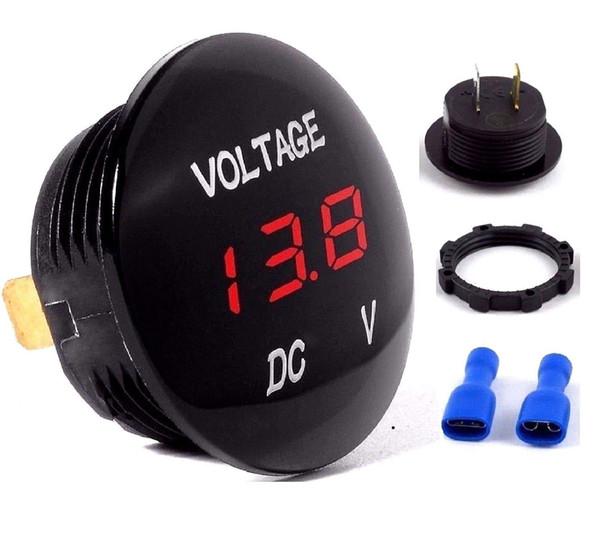 Motocicleta do carro DC5V-48V Painel LED Display Voltímetro Medidor de Voltagem Digital Torção E Bloqueio do Sistema DHL UPS Shippping Livre