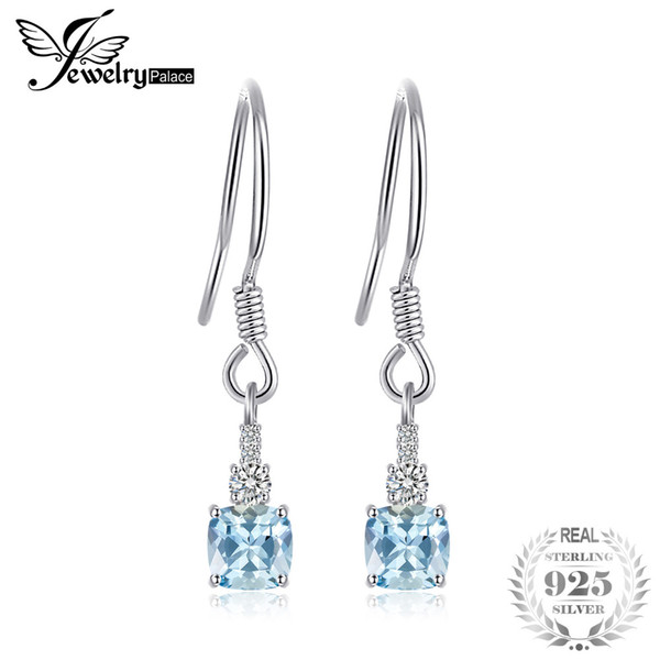 JewelryPalace 1.5ct Cushion-Cut Genuine Sky Blue Topaz Drop Earrings 925 Sterling Silver Jewelry for Women Fine Jewelry