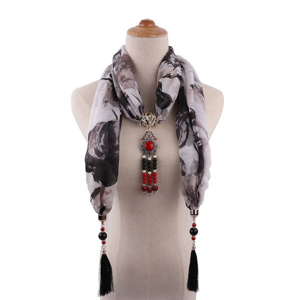 Women's Cotton Collar Jewelry Necklace Pendant Scarves Ethnic Style Retro Mongolia Long Tassel Six Color Clothing Accessories Gift Bib