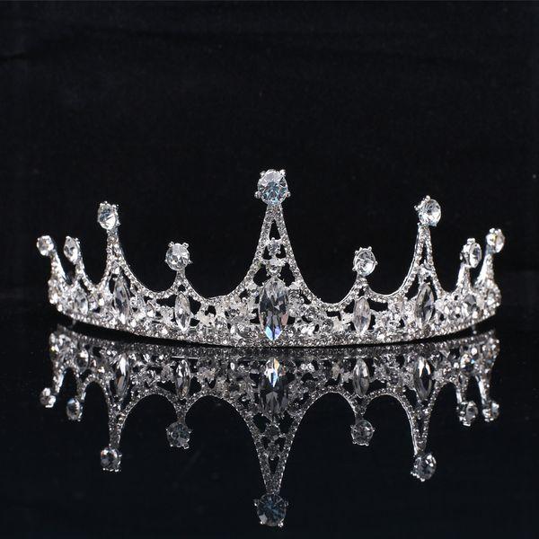 Tocados de novia de estilo europeo para niños Conjunto de aleación con joyas de la corona de cristal de diamante Accesorios para el cabello nupcial del banquete de boda