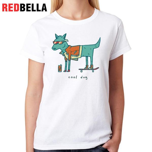 Women's Tee Redbella T-shirt Women Korean Funny Dog Cool Pet Hipster Cute Animal 100% Cotton Harajuku Short Sleeve Kawaii White Tops Tshirt