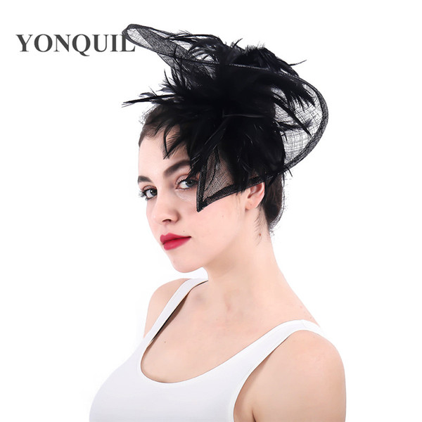 NEW ARRIVAL 21color for select black kentucky fascinators with feather derby event Occasion church hats wedding hair accessories SYF292