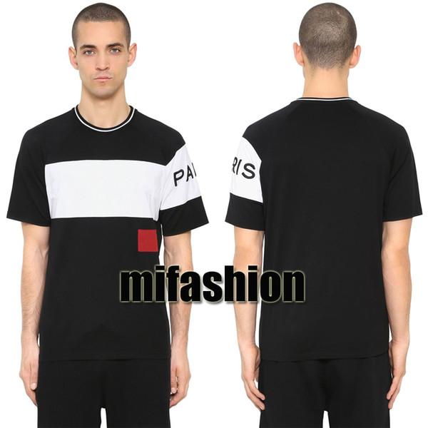 18ss luxe europe paris broderie contraste patchwork tshirt mode hommes concepteur t-shirt casual hommes vêtements coton tee