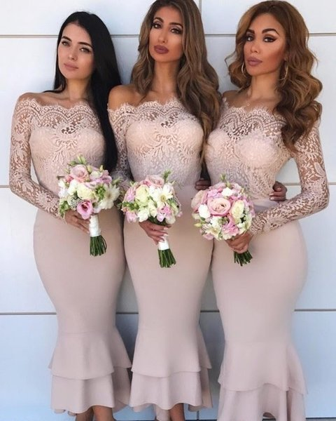 Sexy Off Shoulder Blush Pink Mermaid Bridesmaid Dresses Long Sleeves Lace Applique Ankle Length Tiered Wedding Guest Dresses Formal Dresses