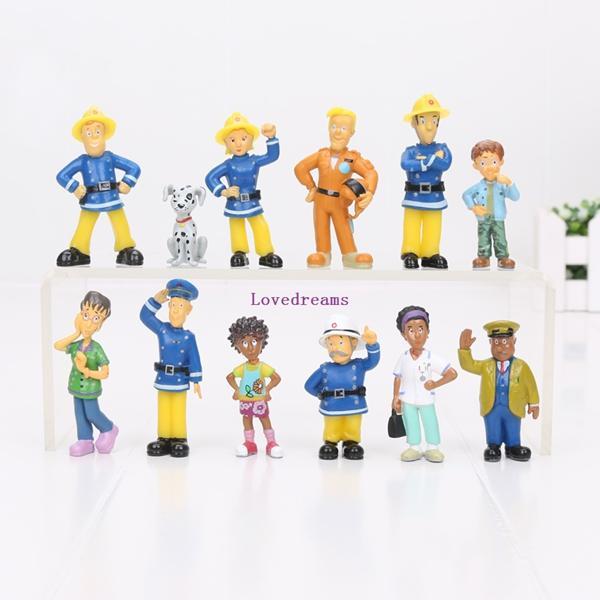 12 pcs / set Cartoon Anime Pompier Sam 2.5-6cm figure figure action pvc jouets ensemble bons enfants jouet cadeau Téléphone Accessoires