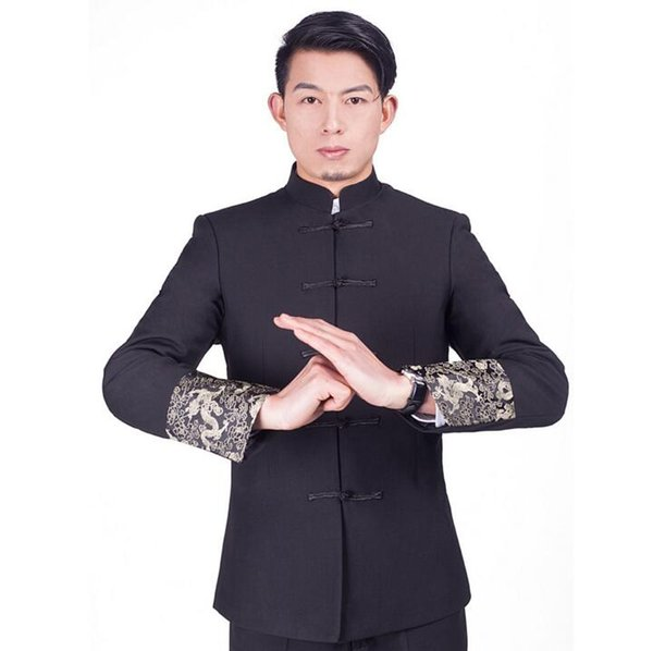 Vintage Tang Suit Mens Tunic Wedding Jacket Chinese Traditional Clothes Golden Dragon Pattern Oriental Button Suit Jackets