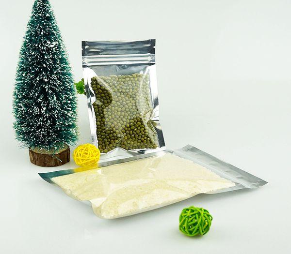 Le sac de serrure de fermeture éclair de papier d'aluminium translucide, 9x16CM 200pieces argentant le sac d'emballage alimentaire de sac en plastique d'aluminium clair avant transparent peut imprimer le LOGO