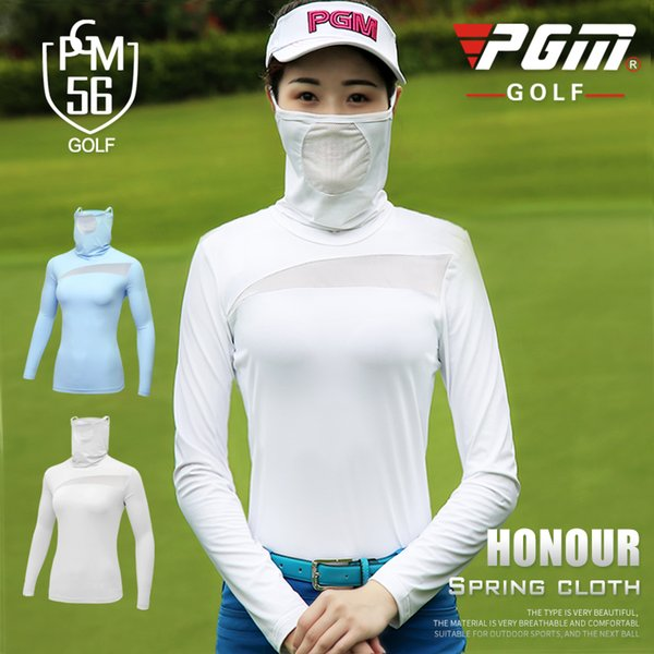 PGM new Summer woman golf Sportswear sun protection golf ladies long-sleeved T-shirt with face mask bottoming shirt S-XL