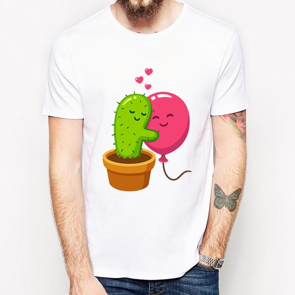 Newest Cactus Hug Balloon Printed Men T-Shirt Short Sleeve Funny Cartoon Tops Classic Tee Cool Design T Shirts P16