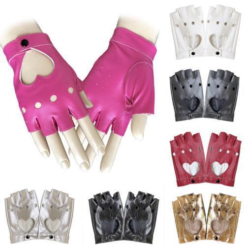 Damen Kurze Lederhandschuhe Halbfinger Fingerless Dance Stage Radfahren Fahren Damen PU Feste Handschuhe