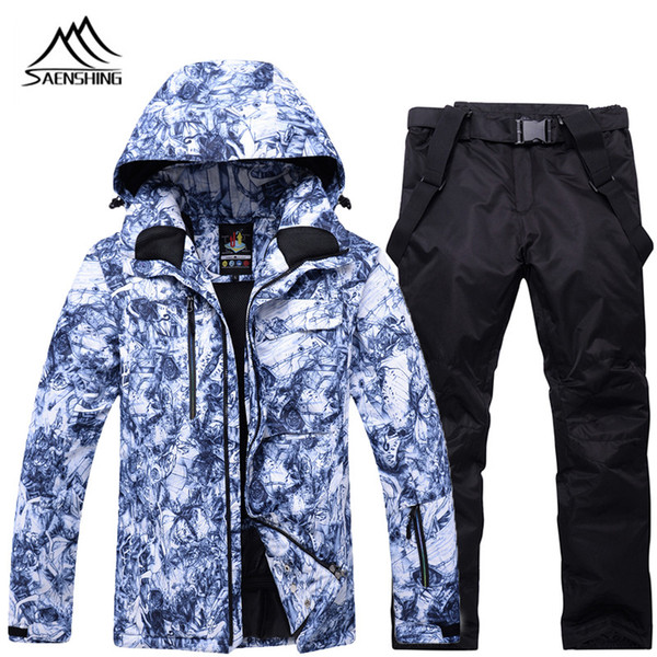 Ski Suit Male Jacket Snowboard Pants Windproof Super Warm Mountain Winter Skiing Suit Man Snowboarding Suits Windproof